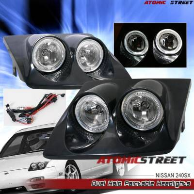 Headlights & Tail Lights - Headlights - Custom - Black Dual Halo Headlights