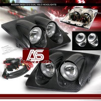 Headlights & Tail Lights - Headlights - Custom - Carbon Dual Halo Headlights