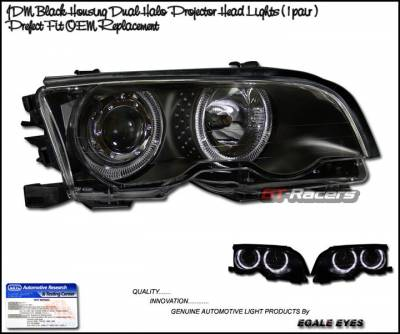 Headlights & Tail Lights - Headlights - Custom - JDM Black Dual Halo Projector Headlights