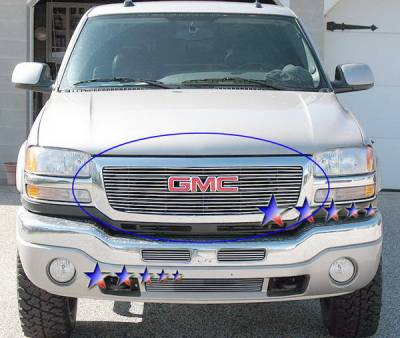 Grilles - Custom Fit Grilles - APS - GMC Sierra APS Billet Grille - with Logo Opening - Upper - Aluminum - G65771A