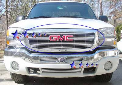 Grilles - Custom Fit Grilles - APS - GMC Sierra APS Billet Grille - with Logo Opening - Upper - Stainless Steel - G65771S