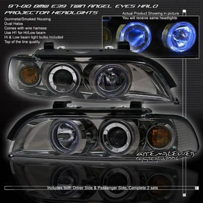 Headlights & Tail Lights - Headlights - Custom - Smoked Dual Halo Projector Headlights