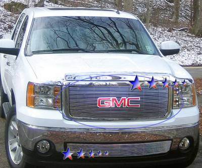 Grilles - Custom Fit Grilles - APS - GMC Sierra APS Billet Grille - without Logo Opening - Upper - Aluminum - G66475A