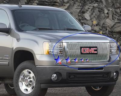 Grilles - Custom Fit Grilles - APS - GMC Sierra APS Billet Grille - with Logo Opening - Upper - Aluminum - G66516V