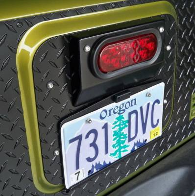 Accessories - License Plate Frames - Warrior - Jeep Wrangler Warrior Center Mounted License Plate Bracket with LED light - 1562