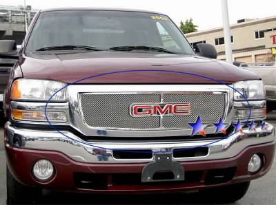 Grilles - Custom Fit Grilles - APS - GMC Sierra APS Wire Mesh Grille - with Logo Opening - Upper - Stainless Steel - G75771T