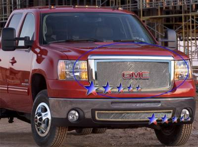 Grilles - Custom Fit Grilles - APS - GMC Sierra APS Wire Mesh Grille - without Logo Opening - Upper - Stainless Steel - G76475T
