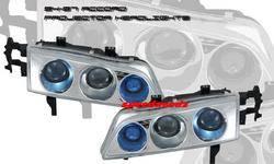 Headlights & Tail Lights - Headlights - Custom - Chrome Housing Dual Blue Halo Pro Headlights