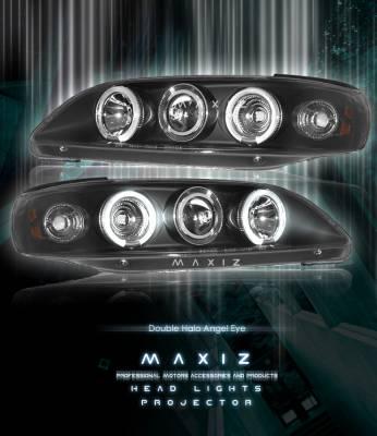 Headlights & Tail Lights - Headlights - Custom - Angel Eyes  Black Dual Halo Pro Headlights