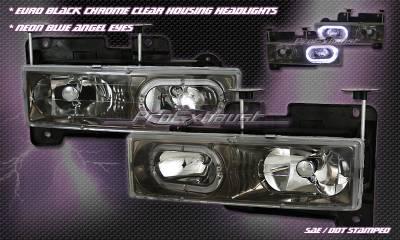 Headlights & Tail Lights - Headlights - Custom - Euro Black Chrome Clear Headlights