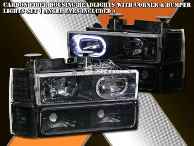 Headlights & Tail Lights - Headlights - Custom - Carbon Fiber Housing Headlights