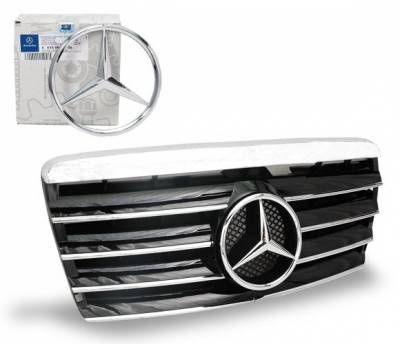 Grilles - Custom Fit Grilles - 4CarOption - Mercedes E Class 4CarOption Front Hood Grille - GRA-W1249495WCL-BK