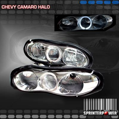 Headlights & Tail Lights - Headlights - Custom - Chrome Diamond Halo Headlights