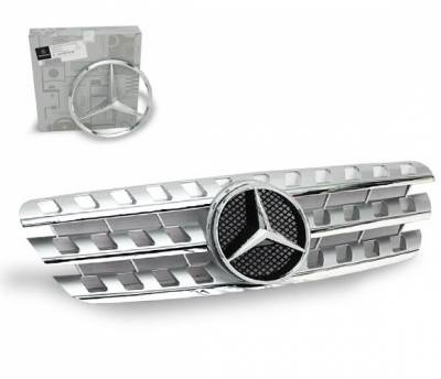 Grilles - Custom Fit Grilles - 4CarOption - Mercedes ML 4CarOption Front Hood Grille - GRA-W1639805W164-SL