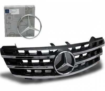 Grilles - Custom Fit Grilles - 4CarOption - Mercedes ML 4CarOption Front Hood Grille - GRA-W1640608WNML-BK