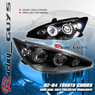 Headlights & Tail Lights - Headlights - Custom - Euro Black Dual Halo Pro Headlights