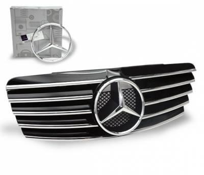 Grilles - Custom Fit Grilles - 4CarOption - Mercedes CLK 4CarOption Front Hood Grille - GRA-W2089802WCL-BK