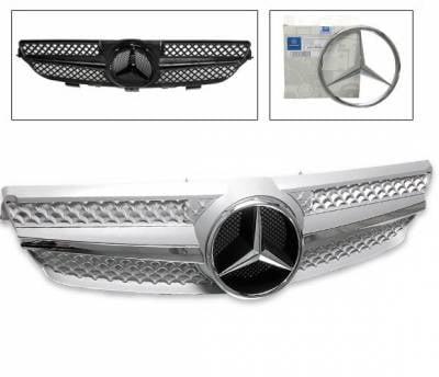 Grilles - Custom Fit Grilles - 4CarOption - Mercedes CLK 4CarOption Front Hood Grille - GRA-W2090308WSLN-SL