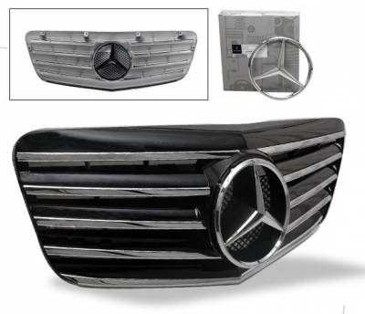 Grilles - Custom Fit Grilles - 4CarOption - Mercedes E Class 4CarOption Front Hood Grille - GRA-W2110708WCL5-BK