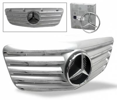 Grilles - Custom Fit Grilles - 4CarOption - Mercedes E Class 4CarOption Front Hood Grille - GRA-W2110708WCL5-SL