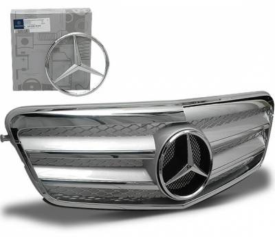 Grilles - Custom Fit Grilles - 4CarOption - Mercedes E Class 4CarOption Front Hood Grille - GRA-W2120910WFCL-SL