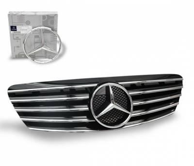 Grilles - Custom Fit Grilles - 4CarOption - Mercedes S Class 4CarOption Front Hood Grille - GRA-W2209902WCL-BK