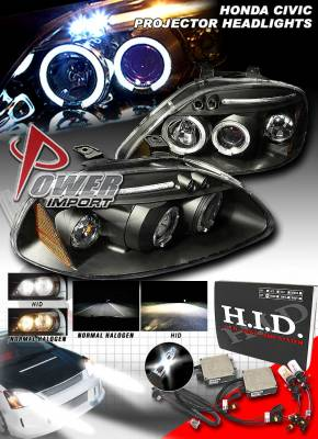 Headlights & Tail Lights - Headlights - Custom - Black LED 2 Halo Projector Headlights
