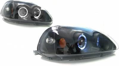 Headlights & Tail Lights - Headlights - Custom - Black Housing Blue Projector Headlights