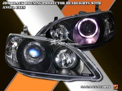 Headlights & Tail Lights - Headlights - Custom - Black Angel Eyes Pro Headlights