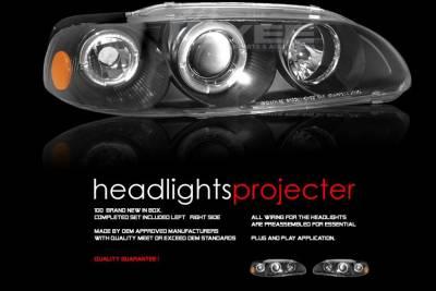 Headlights & Tail Lights - Headlights - Custom - Black Dual Halo Angel Eyes Pro Headlights