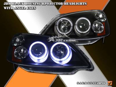 Headlights & Tail Lights - Headlights - Custom - Angel Eyes Black Housing Headlights