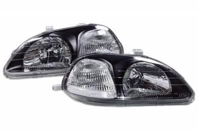 Headlights & Tail Lights - Headlights - Custom - Black Housing Euro Clear Headlights