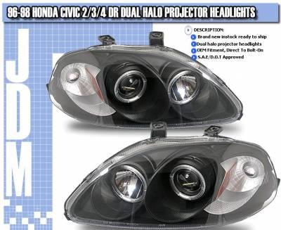 Headlights & Tail Lights - Headlights - Custom - Black Housing Dual Halo Projector Headlights