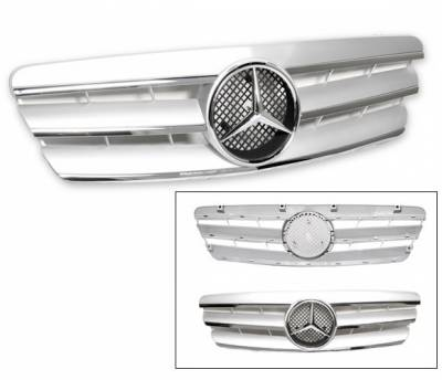 Grilles - Custom Fit Grilles - 4CarOption - Mercedes C Class 4CarOption Front Hood Grille - GRG-W2030003G-CL3SL