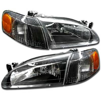 Headlights & Tail Lights - Headlights - Custom - Diamond Cut Black Euro Headlights