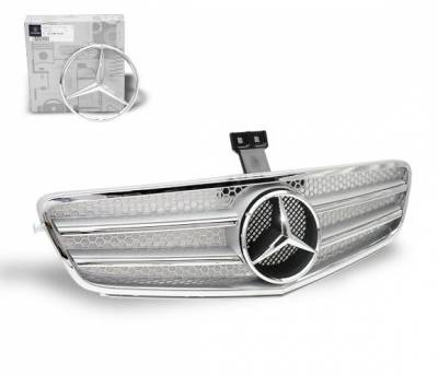 Grilles - Custom Fit Grilles - 4CarOption - Mercedes C Class 4CarOption Front Hood Grille - GRG-W2040708GFC-SL