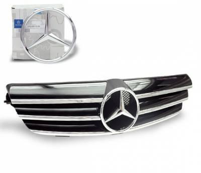 Grilles - Custom Fit Grilles - 4CarOption - Mercedes CLK 4CarOption Front Hood Grille - GRG-W2090307F-CL3BK