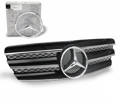 Grilles - Custom Fit Grilles - 4CarOption - Mercedes E Class 4CarOption Front Hood Grille - GRG-W2110305G-CL3BK