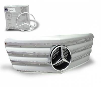 Grilles - Custom Fit Grilles - 4CarOption - Mercedes E Class 4CarOption Front Hood Grille - GRG-W2110708GCL4-SL