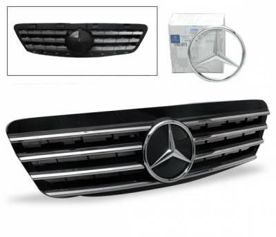 Grilles - Custom Fit Grilles - 4CarOption - Mercedes S Class 4CarOption Front Hood Grille - GRG-W2209902GCL4-BK