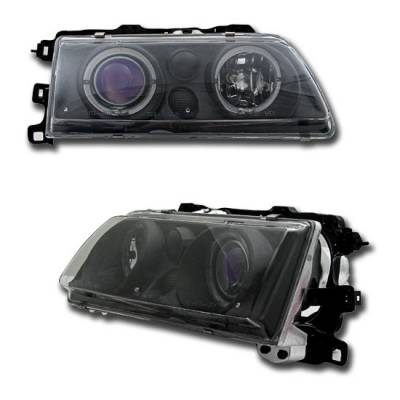 Headlights & Tail Lights - Headlights - Custom - Black Blue Two Halo Pro Headlights