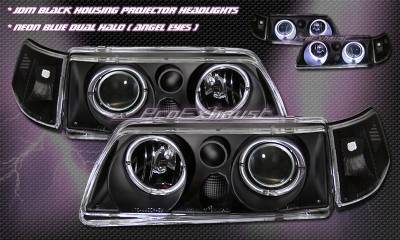 Headlights & Tail Lights - Headlights - Custom - Black Angel Eyes  Headlights