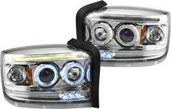 Headlights & Tail Lights - Headlights - Custom - Chrome Halo LED Pro Headlights