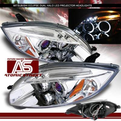 Headlights & Tail Lights - Headlights - Custom - Chrome LED Dual Halo Pro Headlights