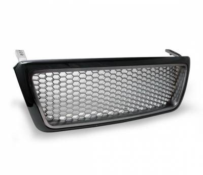 Grilles - Custom Fit Grilles - 4CarOption - Ford F150 4CarOption Front Hood Grille - GRZH-F1500405-BKBC