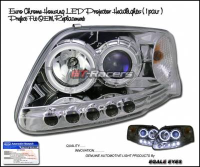 Headlights & Tail Lights - Headlights - Custom - Euro Chrome Dual Halo LED Headlights
