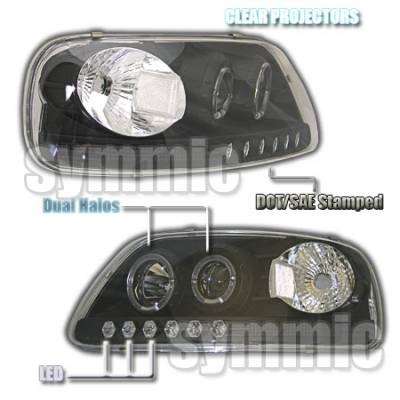 Headlights & Tail Lights - Headlights - Custom - Black Clear Halo LED Pro Headlights