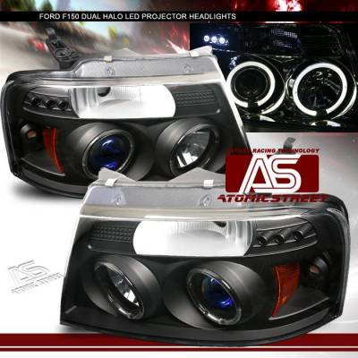 Headlights & Tail Lights - Headlights - Custom - Black Dual Halo  LED Pro Headlights