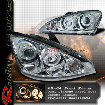 Headlights & Tail Lights - Headlights - Custom - Chrome Diamond Angel Eyes Headlights