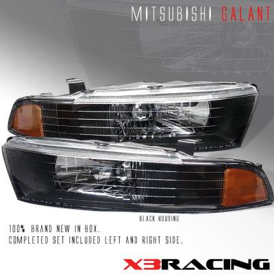 Headlights & Tail Lights - Headlights - Custom - JDM Black Crystal Headlights